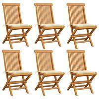 vidaXL Krzesła ogrodowe, kremowe poduszki, 6 szt., drewno tekowe