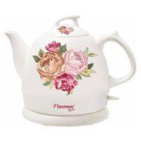 Bestron Ceramiczny czajnik elektryczny, DTP800RO, biały 0,8 L, róże