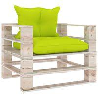 vidaXL Sofa ogrodowa z palet, jasnozielone poduszki, drewno sosnowe