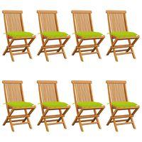 vidaXL Krzesła ogrodowe z jasnozielonymi poduszkami, 8 szt., tekowe