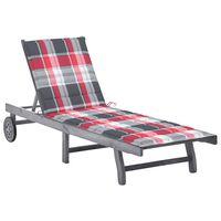 vidaXL Ogrodowy leżak z poduszką, szary, lite drewno akacjowe