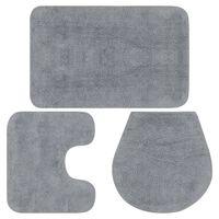vidaXL 3-częściowy zestaw mat łazienkowych, tkanina, szary