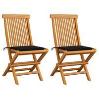 vidaXL Krzesła ogrodowe z czarnymi poduszkami, 2 szt., drewno tekowe