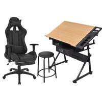 vidaXL Regulowany stół kreślarski i krzesło biurowe na kółkach