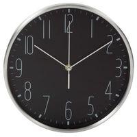 Perel Zegar ścienny, 25 cm, czarno-srebrny