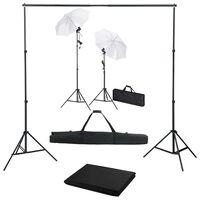 vidaXL Fotograficzny zestaw studyjny z tłem, lampami i parasolkami