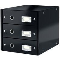 Leitz Szafka biurowa WOW, czarna, 3 szuflady