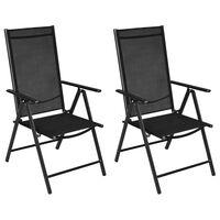 vidaXL Składane krzesła ogrodowe, 2 szt., aluminium/textilene, czarne