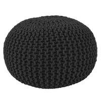 LABEL51 Puf wydziergany z bawełny, M, czarny