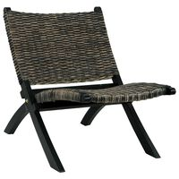 vidaXL Krzesło, czarne, naturalny rattan kubu i lite drewno mahoniowe