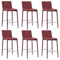 vidaXL Krzesła barowe, 6 szt., kolor czerwonego wina, sztuczna skóra