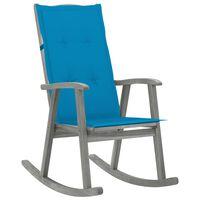 vidaXL Fotel bujany z poduszką, szary, lite drewno akacjowe