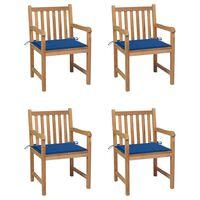 vidaXL Krzesła ogrodowe, 4 szt., kobaltowe poduszki, drewno tekowe