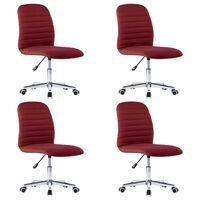 vidaXL Krzesła stołowe, 4 szt., winna czerwień, tapicerowane tkaniną