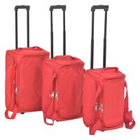 vidaXL Zestaw 3 toreb podróżnych na kółkach, czerwony