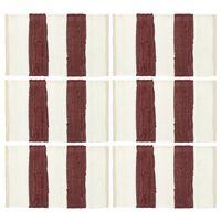 vidaXL Maty na stół, 6 szt, Chindi, paski, burgundowo-białe, 30x45 cm
