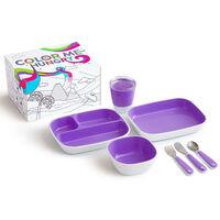 Munchkin 7-częściowy zestaw naczyń dla dzieci Color Me Hungry, fiolet