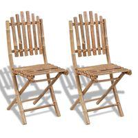 vidaXL Składane krzesła ogrodowe, 2 szt., bambusowe