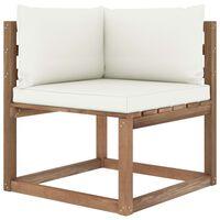 vidaXL Ogrodowa sofa narożna z palet, z kremowymi poduszkami
