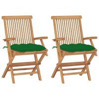 vidaXL Krzesła ogrodowe z zielonymi poduszkami, 2 szt., drewno tekowe