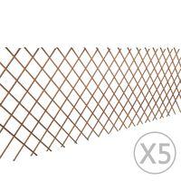vidaXL Płot kratka z wierzby, 5 szt., 180 x 90 cm