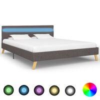 vidaXL Rama łóżka z LED, jasnoszara, tkanina, 160 x 200 cm