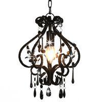 vidaXL Lampa sufitowa z koralikami, czarna, okrągła, E14