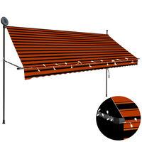 vidaXL Ręcznie zwijana markiza z LED, 300 cm, pomarańczowo-brązowa