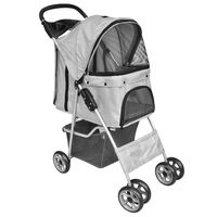 vidaXL Składany wózek dla psa/kota, transporter, szary