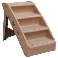 vidaXL Składane schodki dla psa, brązowe, 62 x 40 x 49,5 cm