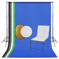 vidaXL Zestaw studyjny ze stolikiem fotograficznym, tłami i blendami