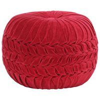 vidaXL Puf, aksamit bawełniany, marszczony, 40 x 30 cm, czerwony