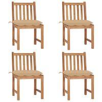 vidaXL Krzesła ogrodowe, 4 szt., z poduszkami, lite drewno tekowe