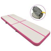 vidaXL Mata gimnastyczna z pompką, 300x100x15 cm, PVC, różowa