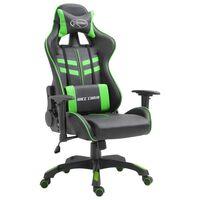 vidaXL Fotel dla gracza, zielony, sztuczna skóra
