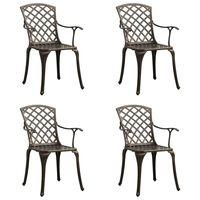 vidaXL Krzesła ogrodowe 4 szt., odlewane aluminium, brązowe
