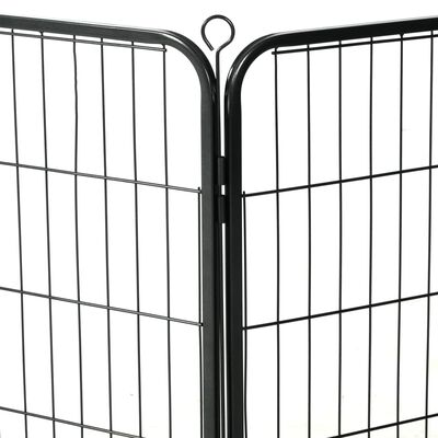 vidaXL Kojec dla psów, 8 paneli, stalowy, czarny, 60 x 80 cm