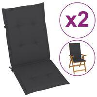 vidaXL Poduszki na krzesła ogrodowe, 2 szt., antracyt, 120x50x4 cm