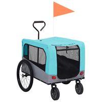 vidaXL Przyczepka rowerowa 2-w-1 dla zwierząt i do biegania, niebiesk-szara