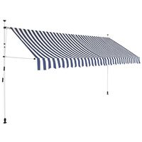 vidaXL Markiza zwijana ręcznie, 350 cm, niebiesko-białe pasy