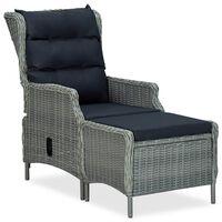 vidaXL Rozkładane krzesło ogrodowe z podnóżkiem, rattan PE, jasnoszare