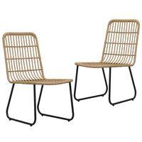 vidaXL Krzesła ogrodowe, 2 szt., polirattan, kolor dębowy