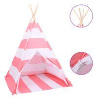 vidaXL Dziecięcy namiot tipi, torba, peach skin, paski, 120x120x150 cm