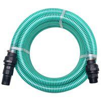 vidaXL Wąż ssący ze złączkami, 7 m, 22 mm, zielony