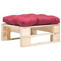vidaXL Ogrodowy puf z palet, czerwona poduszka, naturalne drewno