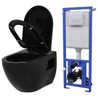 vidaXL Podwieszana toaleta ceramiczna ze spłuczką, czarna
