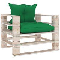 vidaXL Sofa ogrodowa z palet, zielone poduszki, drewno sosnowe
