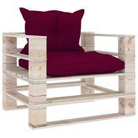 vidaXL Sofa ogrodowa z palet, czerwone poduszki, drewno sosnowe