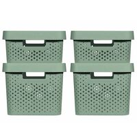 Curver Zestaw pudełek Infinity z pokrywkami, 4 szt., 11L+17L, zielony