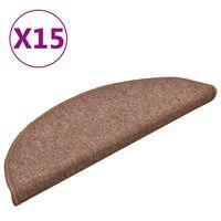vidaXL Nakładki na schody, 15 szt., brązowe, 56x17x3 cm